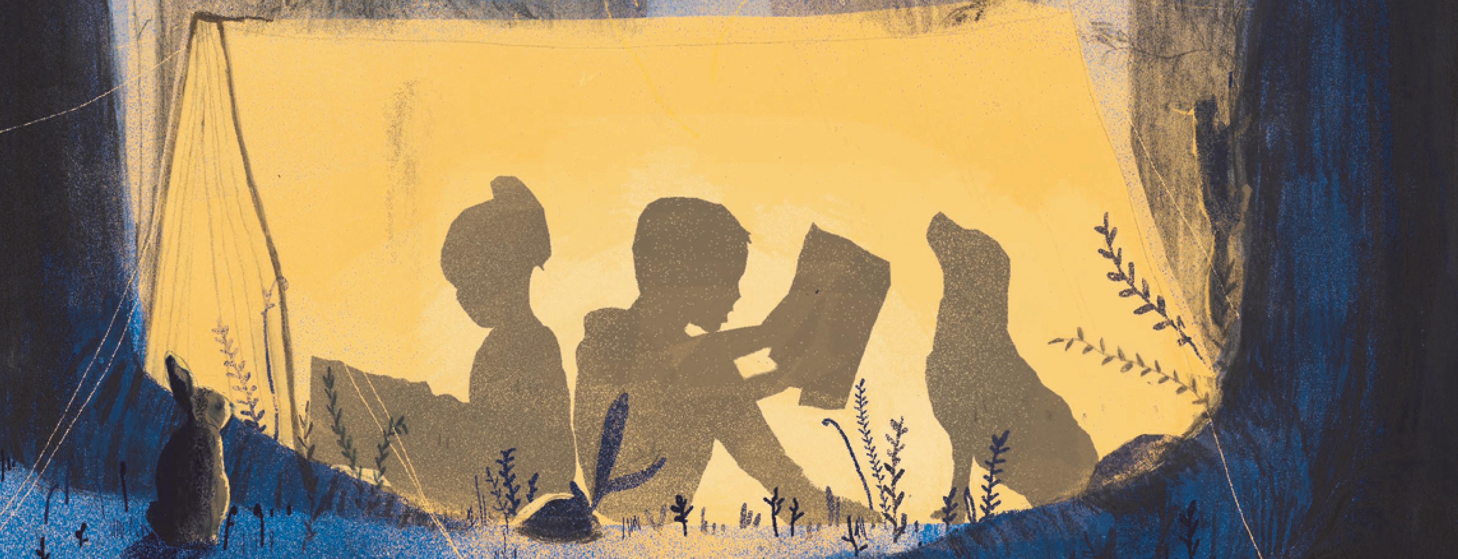 kinderen lezen boeken in een tent
