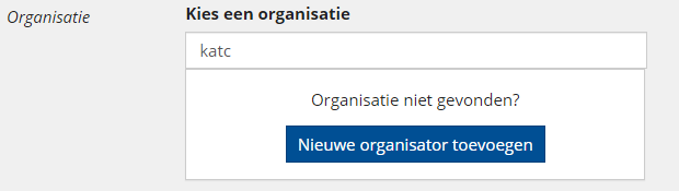Nieuwe organisator toevoegen