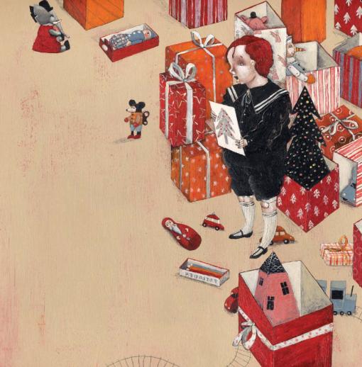 Tekening van een kind dat tussen de kerstcadeautjes zijn nieuwjaarsbrief leest.