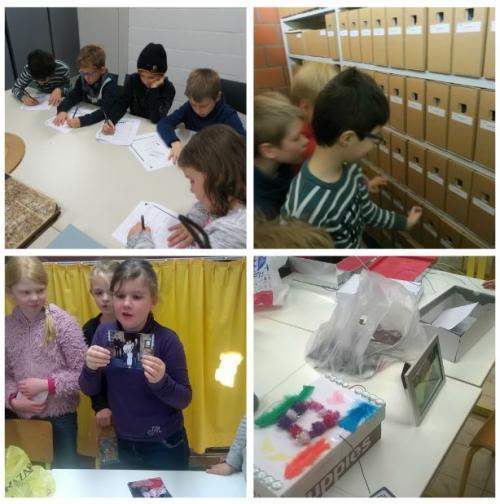 Collage van misia. Kinderen schrijven dingen op, gaan naar het archief, vertellen hun verhaal aan de hand van een foto en knutselen iets over hun familie