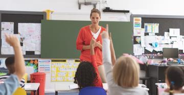 De juf staat vooraan in de klas en leerlingen steken hun vinger in de lucht