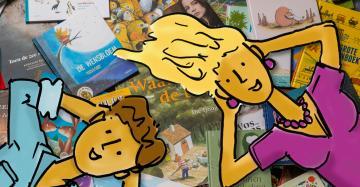 Cartoon meisje en cartoon jongen liggen neer op een hoop boeken