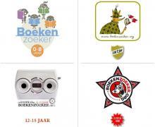 Collage van de verschillende Boekenzoeker logo's, afhankelijk van leeftijd. De boekenzoeker van 0 tot 8 jaar heeft lezende kinderen in het logo. De boekenzoeker van 8 tot 12 jaar heeft een detective vos in het logo. Het logo van de Boekenzoeker voor 12 tot 15 jaar is een soort van kijkdoos. De Boekenzoeker van 12 tot 15 is een gekke hond.