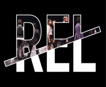 Logo van Rel. In de bovenkant van de letters van 'Rel' staan foto's van kinderen op een podium