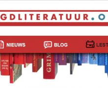 """Screenshot van de homepagina van Jeugdliteratuur.org. Op de banner staat een reeks boeken en links naar """"auteursinfo"""", """"nieuws"""", """"blogs"""", """"lestips"""" en """"agenda""""."""