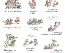 Poster met samenvatting van 'The Rights of the Reader' van Daniel Pennac. 10 rechten van de lezer worden voorgesteld aan de hand van 10 cartoons (geïllustreerd door Quentin Blake).