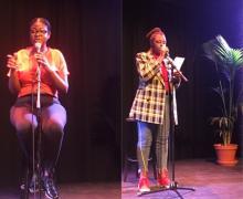 2 meisjes van het Imelda Instituut staan op het podium en brengen hun slam