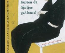 voorpagina van het boek buiten de lijntjes gekleurd, man zit op een tafel