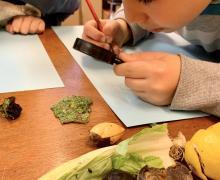 Kind kijkt met een vergrootglas naar een blad en tekent het na.