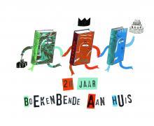 Poster voor '20 jaar boekenbende aan huis'. Op de poster staan 3 kleurrijke boeken die elkaars hand vasthouden.