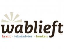Logo wablieft: 'wablieft. krant. tekstadvies. boeken.'
