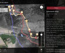 Screenshot van kaart op de applicatie 'Ypres Salient 1914-1918'. De kaart toont de Duitse en geallieerde linies aan. Naast de kaart staat een tekst die je hier vindt https://www.cultuurkuur.be/mobiele-app-ypres-salient-1914-1918alt-tekst