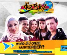 'Fair play' poster met diverse jongeren. De boodschap luidt 'word jij onze aanvoerder?'.