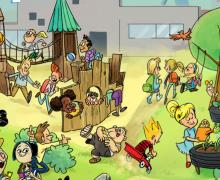 """Cartoon """"De Toekomstvisie van de schoolspeelplaats"""". Op de cartoon spelen kinderen in een boomhut, lopen ze over het hoogteparcours, tuinieren ze in de moestuin, schommelen ze ..."""