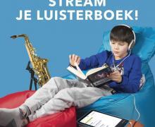 Campagne voor ik haat lezen. Op de poster staat 'Stream je luisterboek. Dyslexie? Ga dan voor een luisterboek. Check ikhaatlezen.be en download de anderslezen-app'