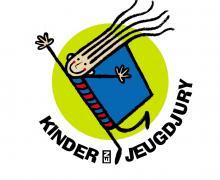 Logo Kinderjeugdjury met een boekje waarvan de boekenrug eveneens ook de rug is van een figuurtje.