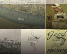 """Screenshot van de applicatie bestaat uit """"places"""", """"poems"""", """"favourites"""", """"news"""" en """"about"""". Respectievelijk worden ze geïllustreerd door een kaart, een meisje dat een boek leest, een oude tekening van huizen, een man die een zeepaard berijdt en een tekening van een hand die uit een muur steekt en 'Good Morning' verkondigt."""