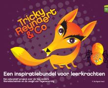 Cover voor de inspirerende verhalenbundel voor leerkrachten 'Tricky Reinaert & Co'. Dit is een educatief project over de Vos, andere Wereldschelmen en de Jeugd van Tegenwoordig. Op de cover staat vos en een spin met 10 ogen
